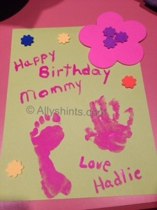 Handprint footprint birthday card Allys Helpful Hints For Mommies